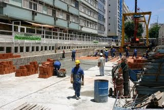 Construction of the new subway station, photo by www.ipanemania.com.