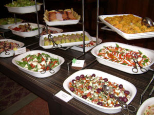 The salad section of the buffet, photo by Felicity Clarke.