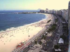 High-rise apartment buildings line the beachfront in Copacabana, photo by Hank LeClair, courtesy of Creative Commons