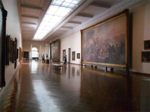 The painting gallery overlooking painted battle scenes, MNBA, Rio de Janeiro, Brazil, News