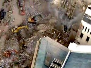 An aerial view of collapse site in the Centro of Rio de Janeiro as rescuer workers search the debris, Brazil News