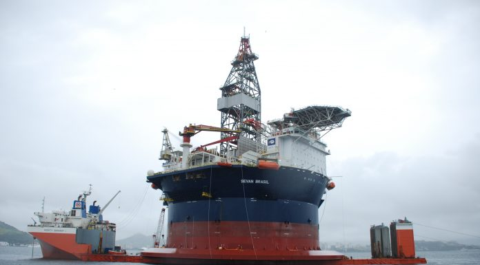 The Sevan Brazil is the new cylindrical drilling rig operated by Sevan Drilling and set to begin drilling in the Santos Basin, offshore Brazil, in June, photo by Stephen Eisenhammer