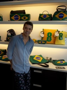 Gilson Martins with the Brazilian flag line of bags and accessories, Rio de Janeiro, Brazil News