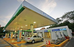 A car fills up with gasoline in Brazil