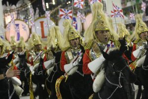 A procession of Buckingham Palace guards featured in União da Ilha's Carnival parade of 2012, Rio de Janeiro, Brazil News