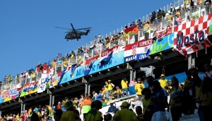 Brazil and Croatia fans inside the Arena Corinthians prior to Thursday's opening match, Rio de Janeiro, Brazil, Brazil News