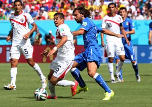Costa Rica beat Italy 1-0 to make the final sixteen of the 2014 World Cup, photo by Agência Photocamera.