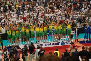 Brazilian national volleyball teams have a good chance of winning Olympic gold medals in 2016. Here men's team won the 2009 World League Championship, photo by George Groutas, Creative Commons License.