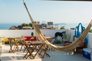 Tiki Hostel's rooftop terrace offers stunning city views