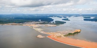 Brazil, Amazon,Aerial photograph of Belo Monte Hydroelectric plant in the Amazon Region