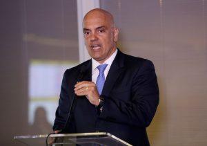 Brazil,Justice Minister Alexandre de Moraes speaks to journalists in Brasilia
