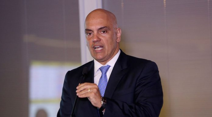 Brazil,Justice Minister Alexandre de Moraes speaks to journalists in Brasilia