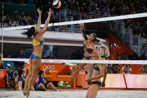 Brazil, Rio de Janeiro,Brazil's Agatha and Barbara  take on Germany's Ludwig and Walkenhorst for final beach volleyball game in Copacabana.