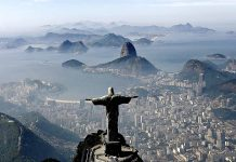 Brazil,Christ the Redeemer and Sugarloaf Mountain in the back are two of the landmarks in Rio with extra security measures during the Olympics,