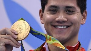 Brazil, Rio de Janeiro,Singapore's Joseph Schooling, one of the gold medalists who also broke Olympic record at Rio 2016 Summer Olympics,
