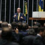Eduardo Cunha speaks to Chamber representatives before impeachment vote,