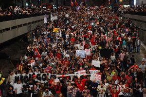 Brazil,Thousands protest in São Paulo against President Temer,