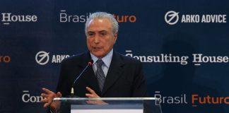 Brazil,Brazilian President Michel Temer speaks to investors on Monday