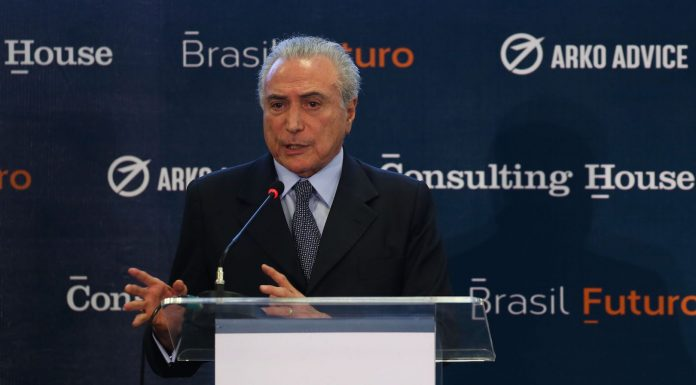 Brazil,Brazilian President Michel Temer speaks to investors on Monday