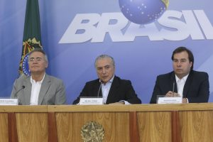 Brazil,President Michel Temer and Congressional leaders, Renan Calheiros and Rodrigo Maia at press conference on Sunday.