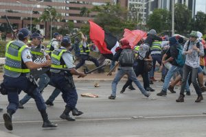 Brazil, Brasilia,Protest against spending cap bill turns violent in Brasilia