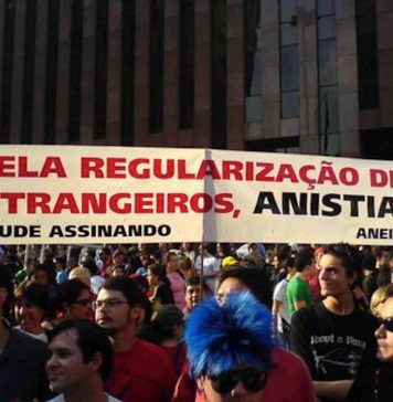 Brazil, São Paulo,Immigrants ask for amnesty in the streets of São Paulo,