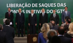 Brazil, Brasilia,Government officials, including President Temer, Finance Minister Meirelles and Development Minister Oliveira at announcement of FGTS calendar