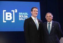 Brazil, Sao Paulo,Cetip CEO, Gilson Finkelsztain, and BM&F CEO, Edemir Pinto, announce merger,