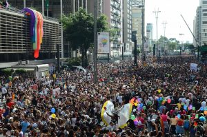 Brazil, São Paulo,The 21st Gay Pride Parade in São Paulo attracted three million persons on Sunday