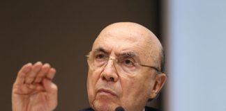 Brazil, Brasilia,Brazil's Finance Minister, Henrique Meirelles, announcing change in budget target deficit,