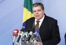 Brazil, Brasilia,Environment Minister, Sarney Filho, announces reduction in deforestation in Amazon region