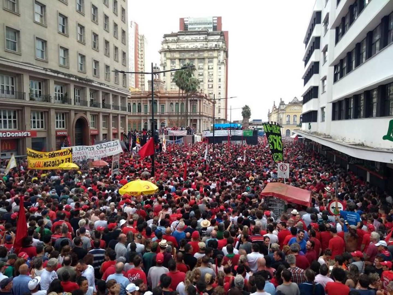 Brazil, Porto Alegre,Thousands gather in Porto Alegre to show their support for former President Luis Inacio Lula da Silva