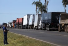 Brazil,Trucks are lined up along side major highways in Brazil as truckers protest rising fuel prices