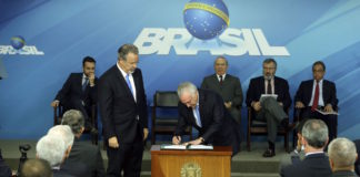 Brazil,President Michel Temer signing the creation of the SUSP - Single Public Security System,