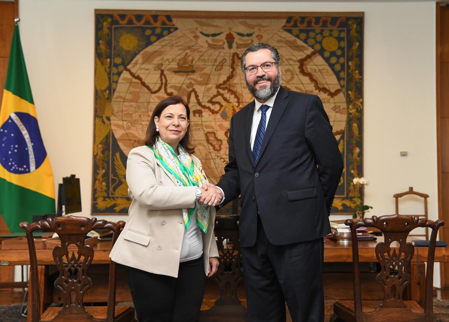 Brazil,Brazil's Foreign Minister, Ernesto Araújo, met with Venezuelan ambassador to Brazil, Maria Teresa Belandria, on Monday.